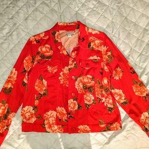 Isaac Mizrahi red floral jean jacket
